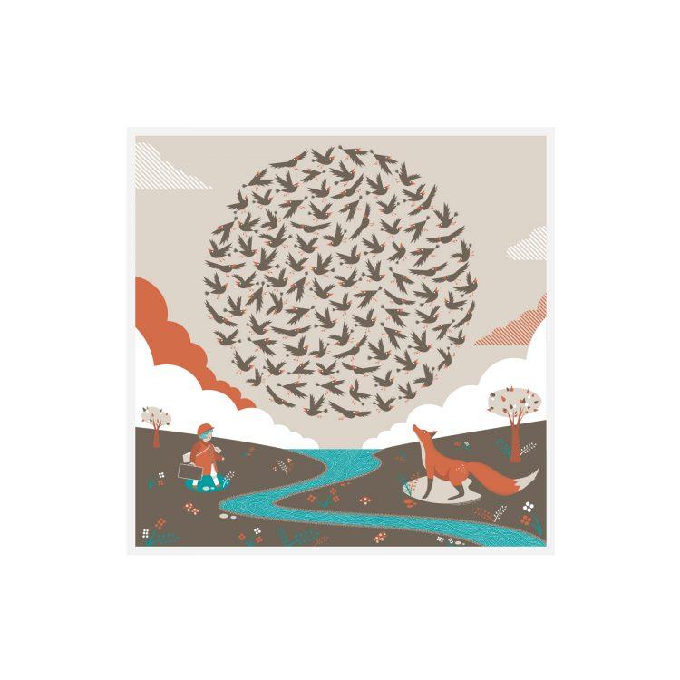 quinn the fox 100 Starlings Rising Greetings Card