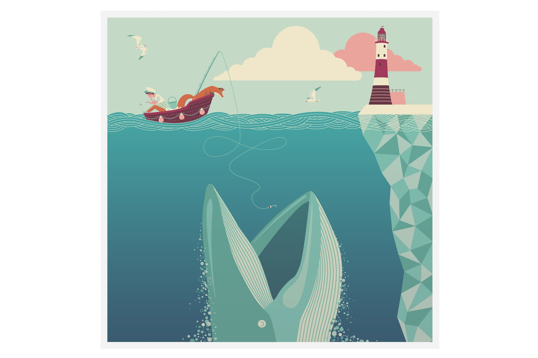 quinn the fox The Fear Of Drowning Greetings Card