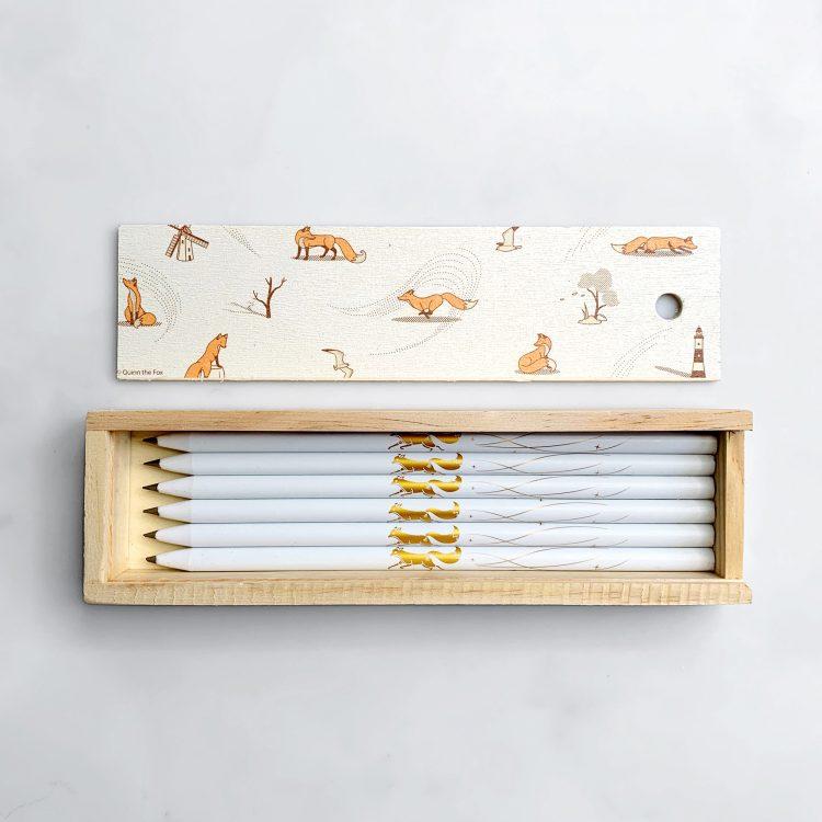 Quinn the Fox Headwinds Pencil Box white pencils