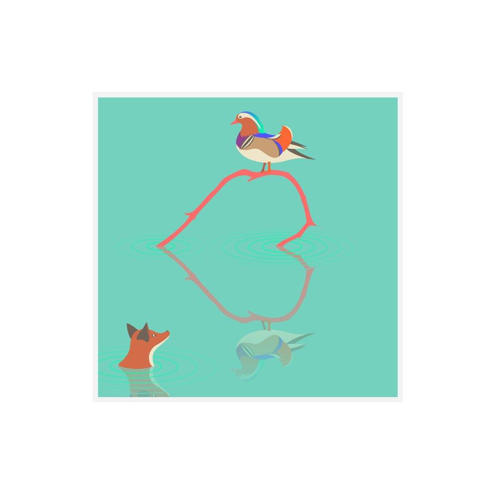Quinn the Fox and duck heart greeting card