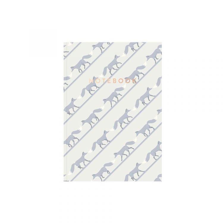 Quinn the Fox striped notebook beuregarde blue