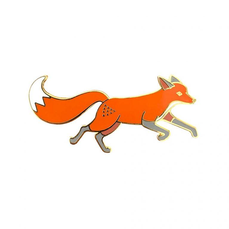 Quinn the Fox Running Enamel Pin