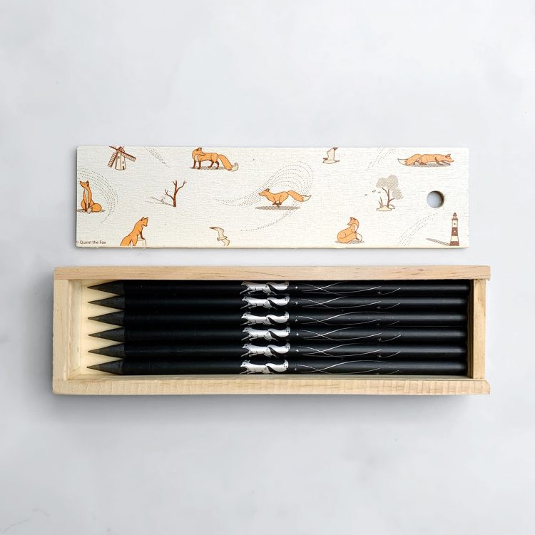 Quinn the Fox Headwinds Pencil Box black pencils