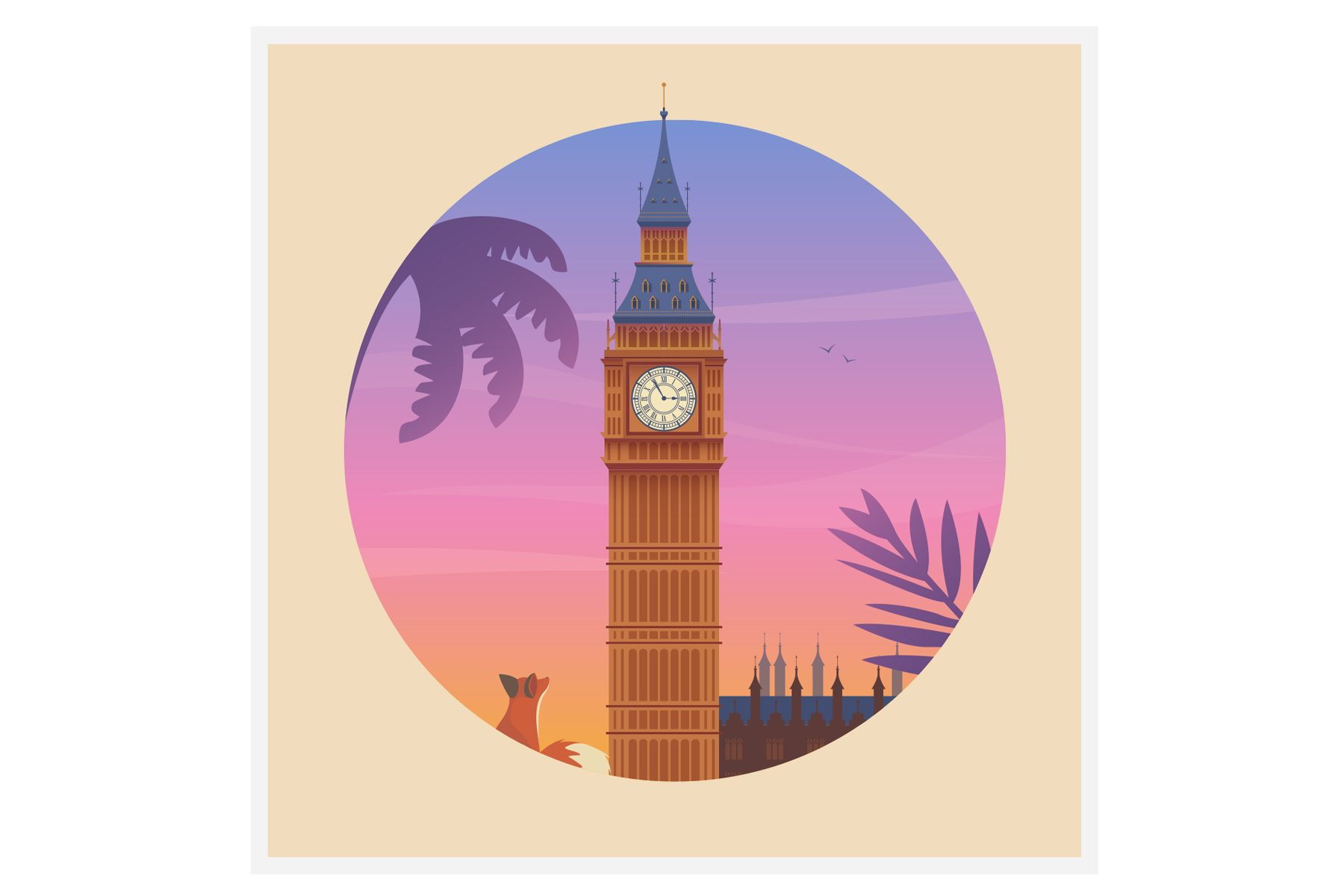quinn the fox London Big Ben card