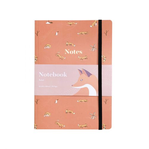 Quinn the Fox Headwinds april showers pink A5 softback notebook