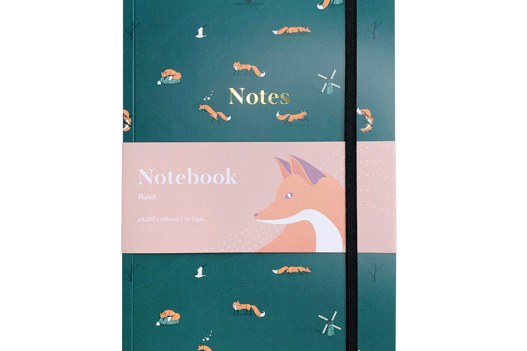 Quinn the Fox Headwinds summer rain green A5 softback notebook