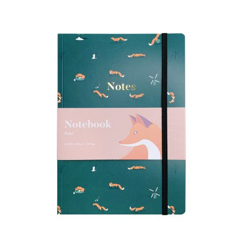 Quinn the Fox Headwinds summer rain green A5 softback notebook