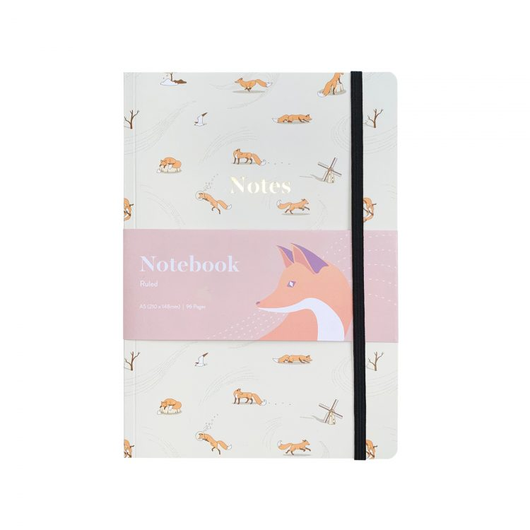 Quinn the Fox Headwinds windswept A5 softback notebook