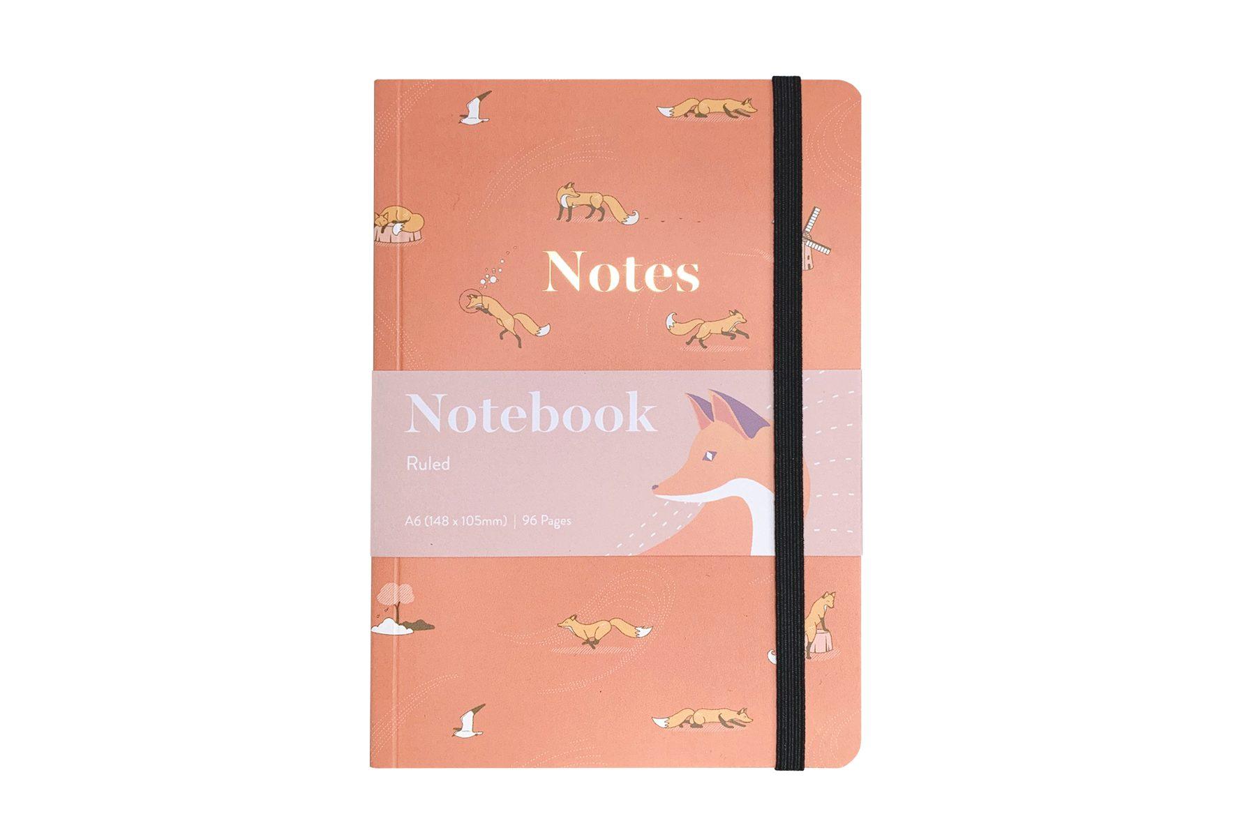 Quinn the Fox Headwinds april showers pink A6 softback notebook