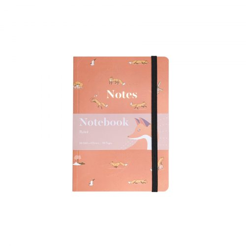Quinn the Fox Headwinds april showers pink A6 softback notebook