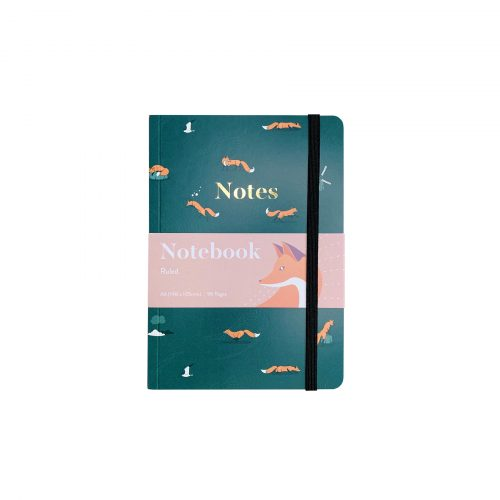Quinn the Fox Headwinds summer rain green A6 softback notebook