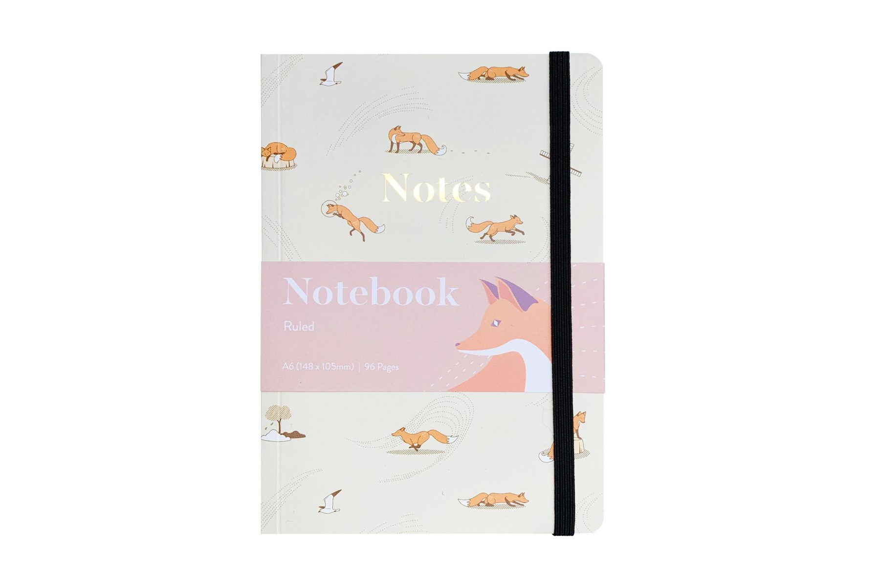 Quinn the Fox Headwinds windswept A6 softback notebook