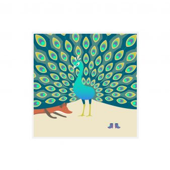 Quinn the Fox and peacock greeting card