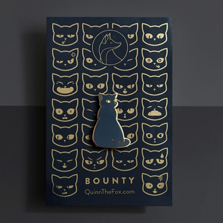 Bounty the Cat enamel pin on card