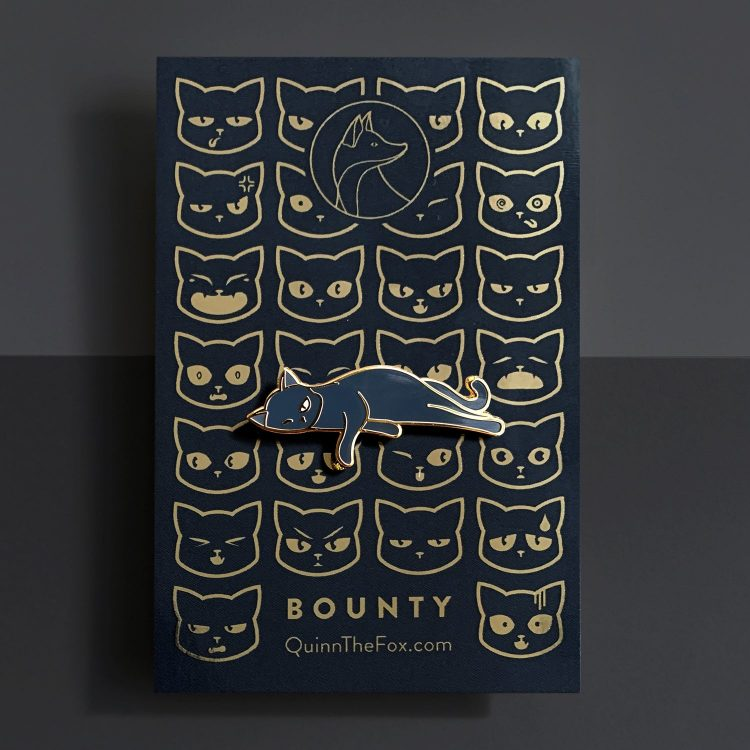 Bounty the Cat enamel pin on card