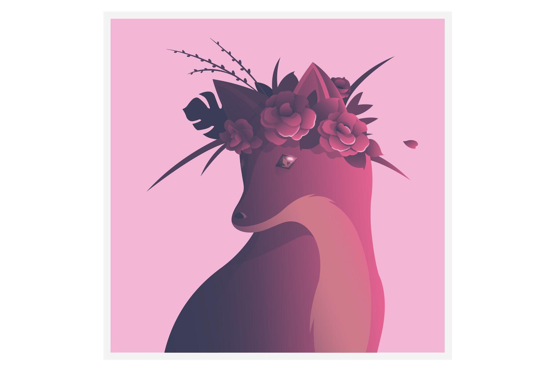 Quinn the fox flowers card