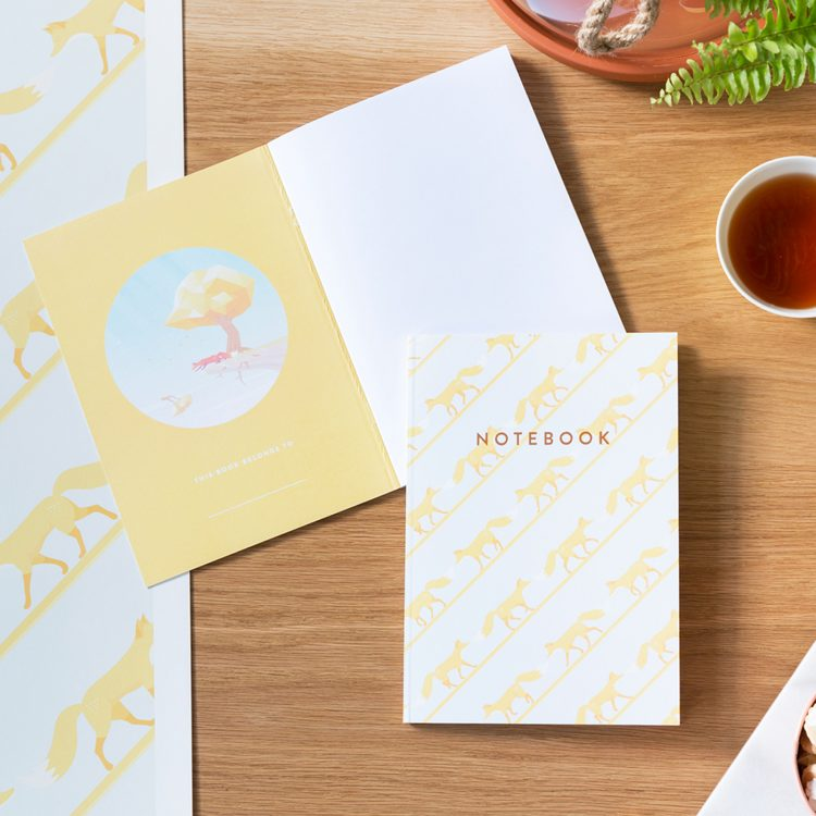 Quinnstripe Fox Notebook Sundrenched Yellow table spread