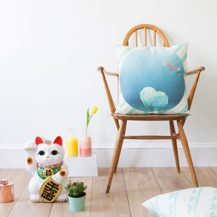 """The Fox And The Heartwreck"" Cushion Cover in situ"