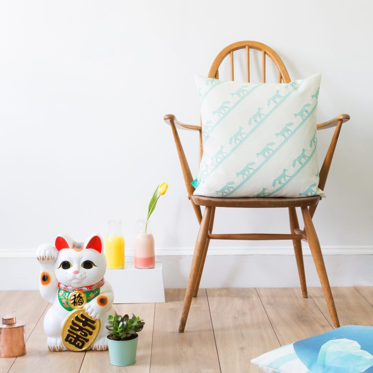 """""""The Fox And The Heartwreck"""" Cushion Cover quinnstripe"""