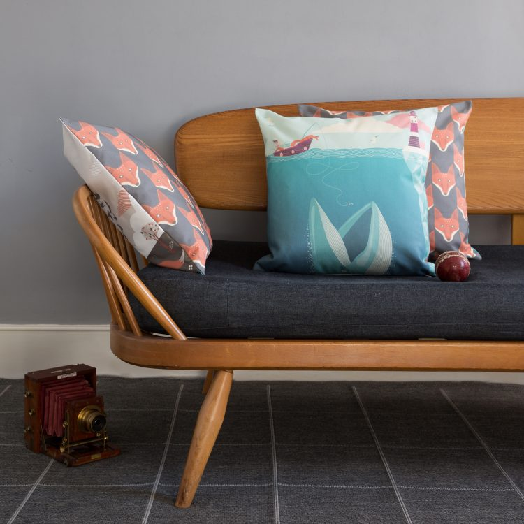 The Fear Of Drowning Cushion in situ